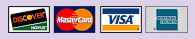 We accept Discover Card, Mastercard, VISA and American Express